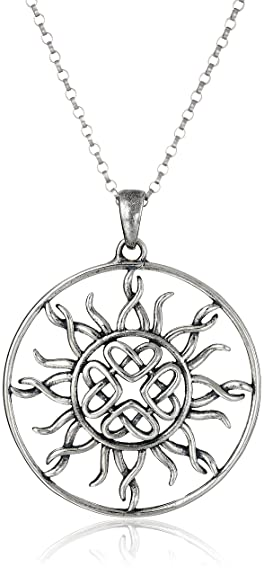 Amazon sterling silver oxidized celtic love knot sun pendant sterling silver oxidized celtic love knot sun pendant necklace 18quot aloadofball Image collections