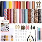 Dorhui Leather Earring Making Kits Include 24 Pieces Litchi and Glitter Faux Leather Sheet, and 180pcs Earring Hooks…