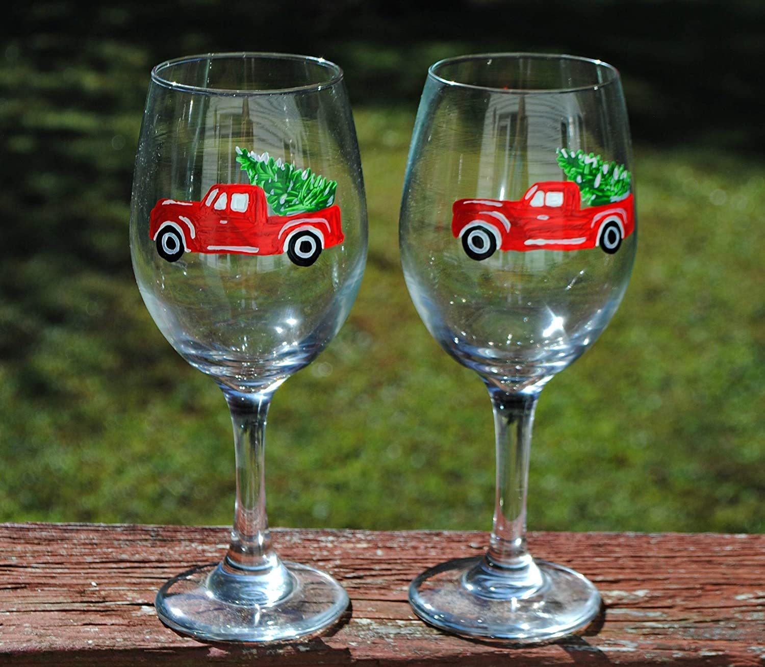 2 Red Pickup Truck and Christmas Tree Wine Glasses Set