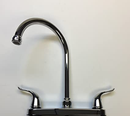 Stonecrest Dual Control 8 Metal High Rise Goose Neck Kitchen Faucet