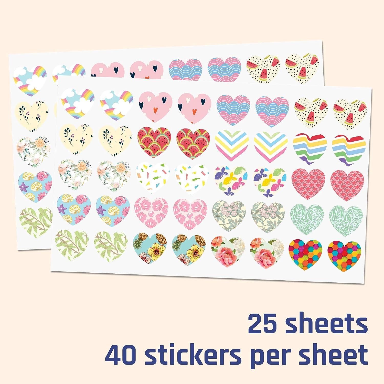 1000 pezzi Adesivi di Ricompensa 20 disegni 2,5cm Adesivi Stella