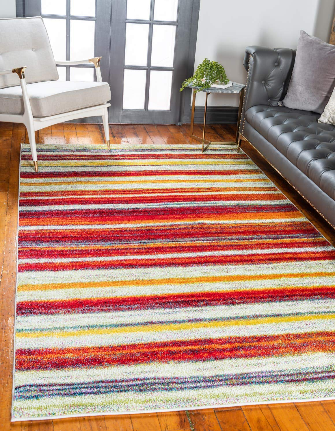 Unique Loom Lyon Collection Modern Abstract Multi Area Rug 3 3 x 5 3