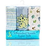 Spasilk Soft Terry Hooded Towel Set, Blue Dino, 3-Count