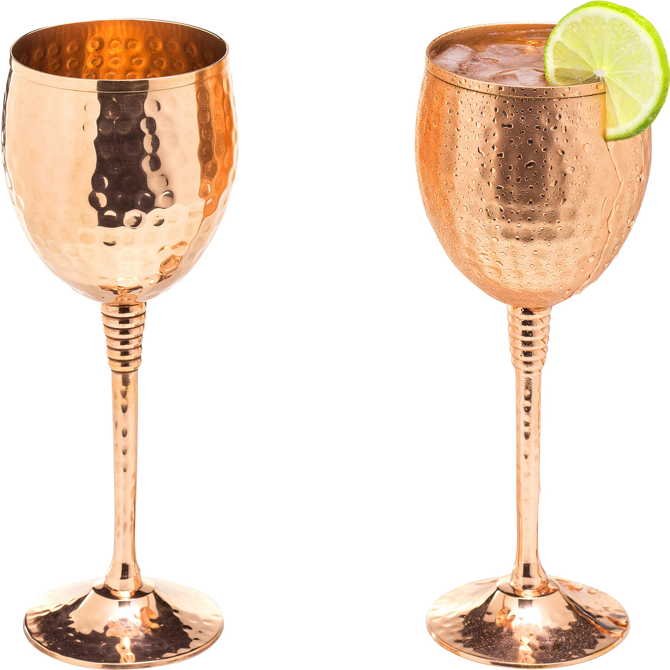 Copper wine glasses set of 2 - 11oz gleaming 100% solid hammered copper wine cups on brass copper plated stems - a perfect gift for men and women - great glasses for red or white wine and Moscow mules