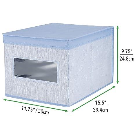mDesign Caja con tapa apilable para armario, dormitorio y más - Organizador de armario de fibra sintética grande - Contenedor de tela para guardar ropa con ...