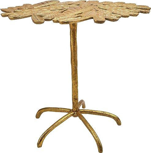 TOV Furniture Freesia Foliage Top Side Table, 23 , Distressed Gold