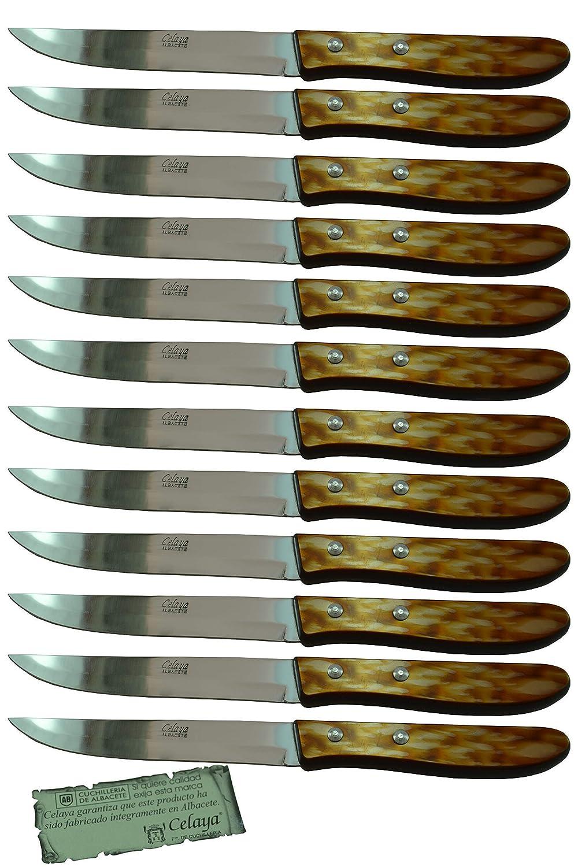 Cuchillos de mesa Celaya Plástico Nácar Marrón Filo Lote 12 ...