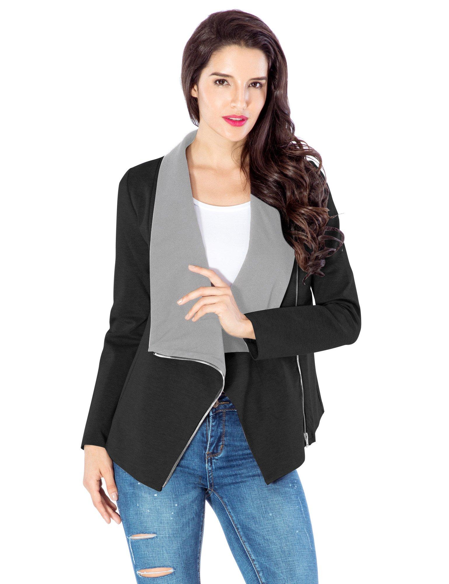 Lookbook Store Women's Casual Black Contrast Draped Asymmetric Blazer Jacket US 8