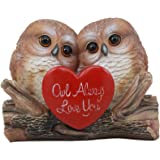 """Ebros Romantic Owl Couple Statue Wisdom Of The Forests Love Birds Pair Of Owls Holding Heart Shaped Sign Saying Owl Always Love You Decorative Figurine 5.25"""" Tall"""