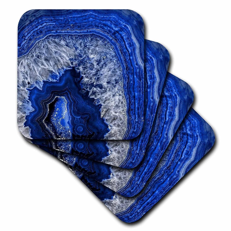 3dRose Uta Naumann パターン - 高級ブルーインディゴ大理石メノウ宝石ミネラルストーン - コースター set-of-8-Soft ブルー cst_274958_2 set-of-8-Soft  B07BFKXZ26