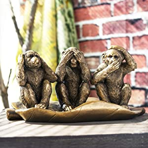 SUMMIT COLLECTION See No Evil Hear No Evil Speak No Evil Golden Monkeys Seated Leaf Home and Garden Decorative Shelf Sitter Figurines Gold Finish 10.75 Inches L and 5.5 Inches Tall