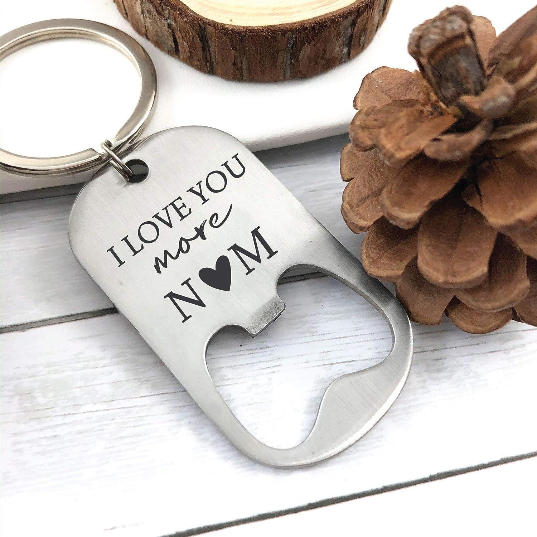 Valentines Day Gift Keychain Bottle Opener Personalized Boyfriend Gift Idea For Him Mens Gift For Him Husband I Love You More Bottle Opener MOR-BOT