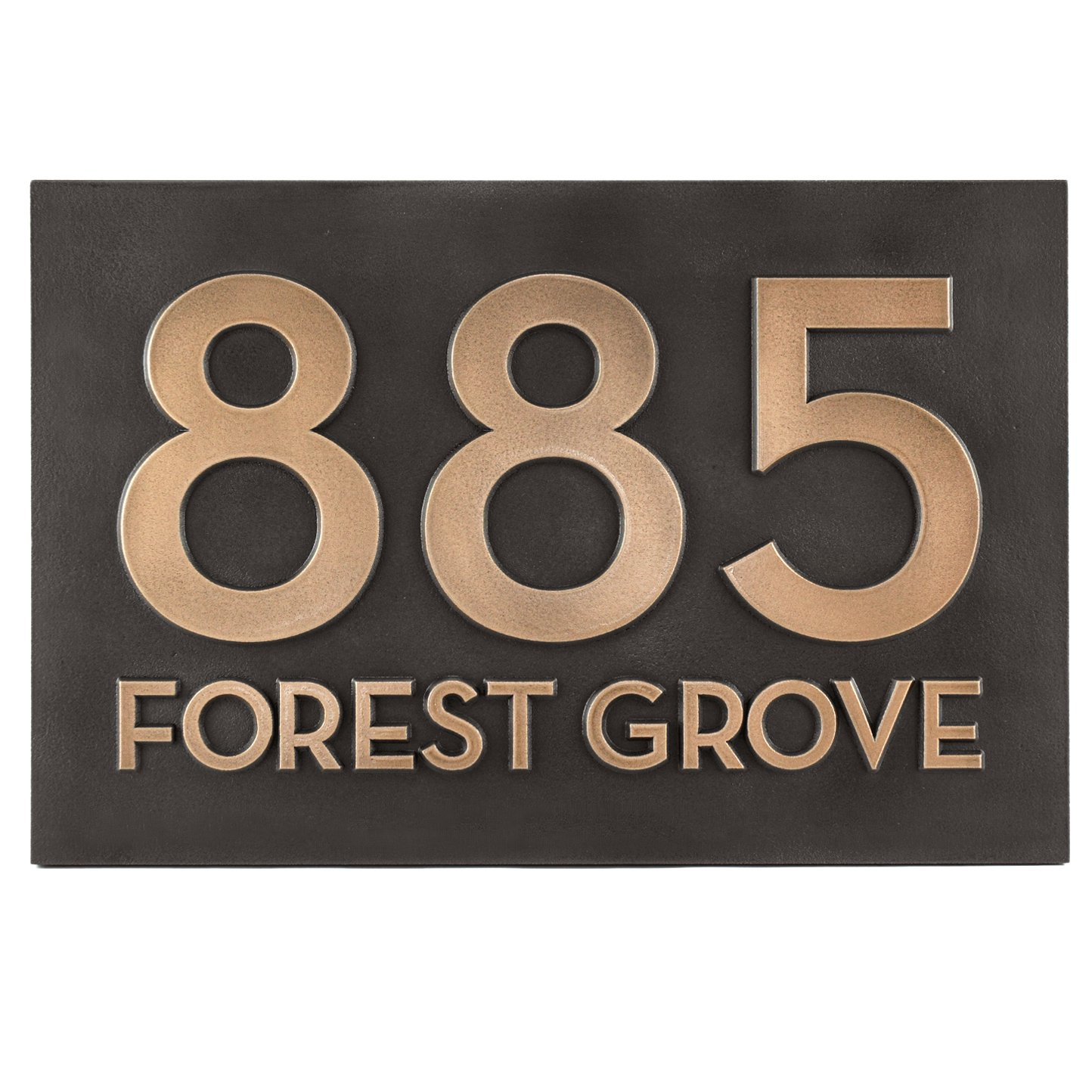 Bold Classy Modern Font Street Address Plaque - 16x10.5 - Bronze Metal Coated Sign by Atlas Signs and Plaques