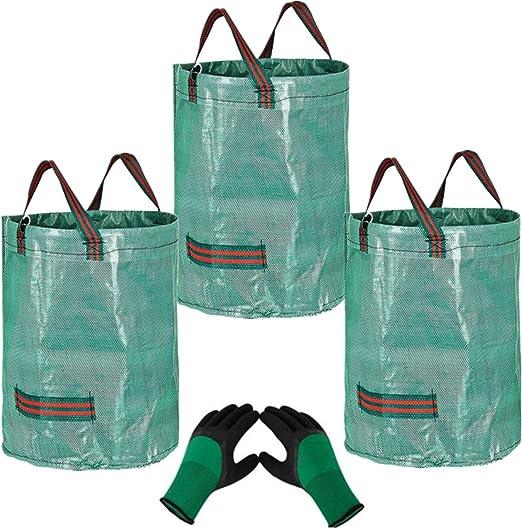 3 x 272L Bolsas para Desechos de Jardín y 1 guantes, Saco para Residuos, Resistentes al Agua, Grandes Bolsas de Basura con Asas, Plegables y Reutilizables, Bolsas de Hierba de Hoja a