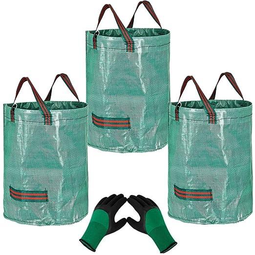 3 x 272L Bolsas para Desechos de Jardín y 1 guantes, Saco ...