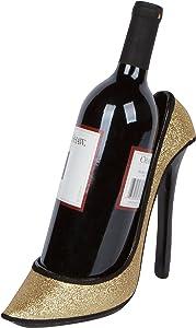 "Hilarious Home 8.5"" x 7""H High Heel Wine Bottle Holder - Stylish Conversation Starter Wine Rack (Gold Glitter)"