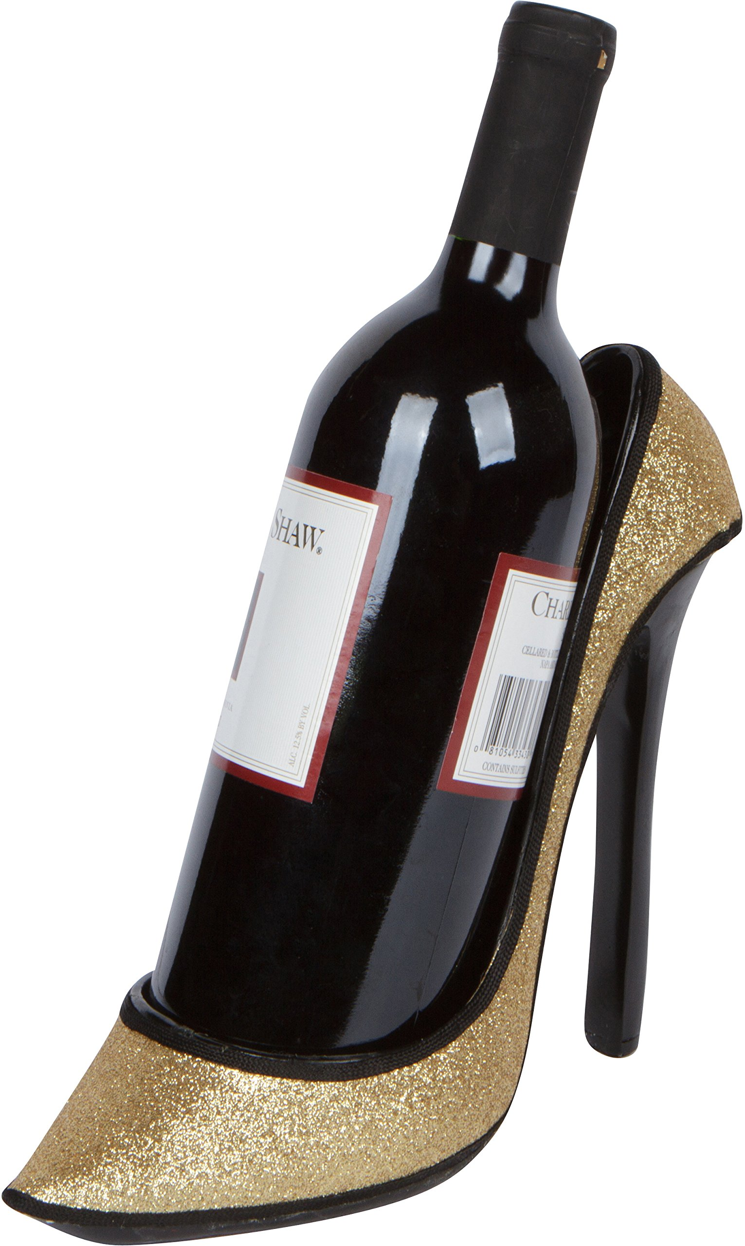 8.5'' x 7''H High Heel Wine Bottle Holder - Stylish Conversation Starter Wine Rack By Hilarious Home (Gold Glitter)