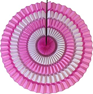 product image for 3-Pack 16 Inch Striped Honeycomb Fan Decoration, Pink White
