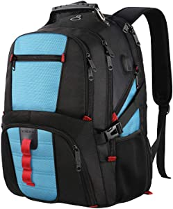 TSA Laptop Backpack,Large Capacity Travel Computer Laptop Backpack for Men Women with Organizer Pocket USB Port,Water Repellent Big Casual Work School Bookbag Fit 17Inch Notebook,Blue