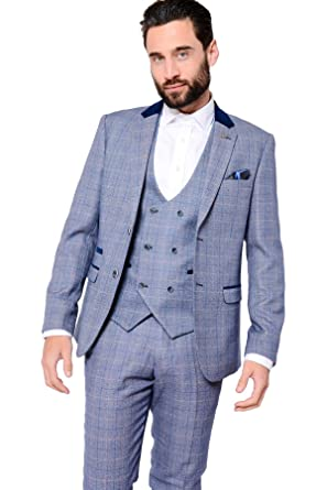 0697487b4ef5 Marc Darcy Mens 3 Piece Slim Fit Blue Windowpane Check Print Tweed Inspired  Casual Business Wedding Suit Formal Blazer, Double Breasted Waistcoat and  ...