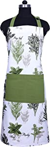 Amour Infini Herb Garden Apron, 100% Natural Cotton, Aprons for Women with Pockets and Adjustable Neck & Waist ties