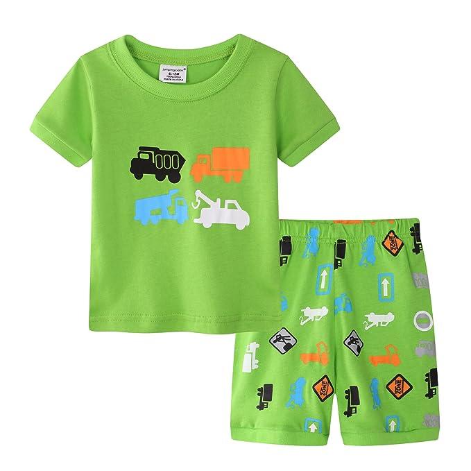 Niño Niños Pijamas Set Cartoon Ingeniería vehículo 100% Algodón de Manga Corta Camiseta Pijamas Verano