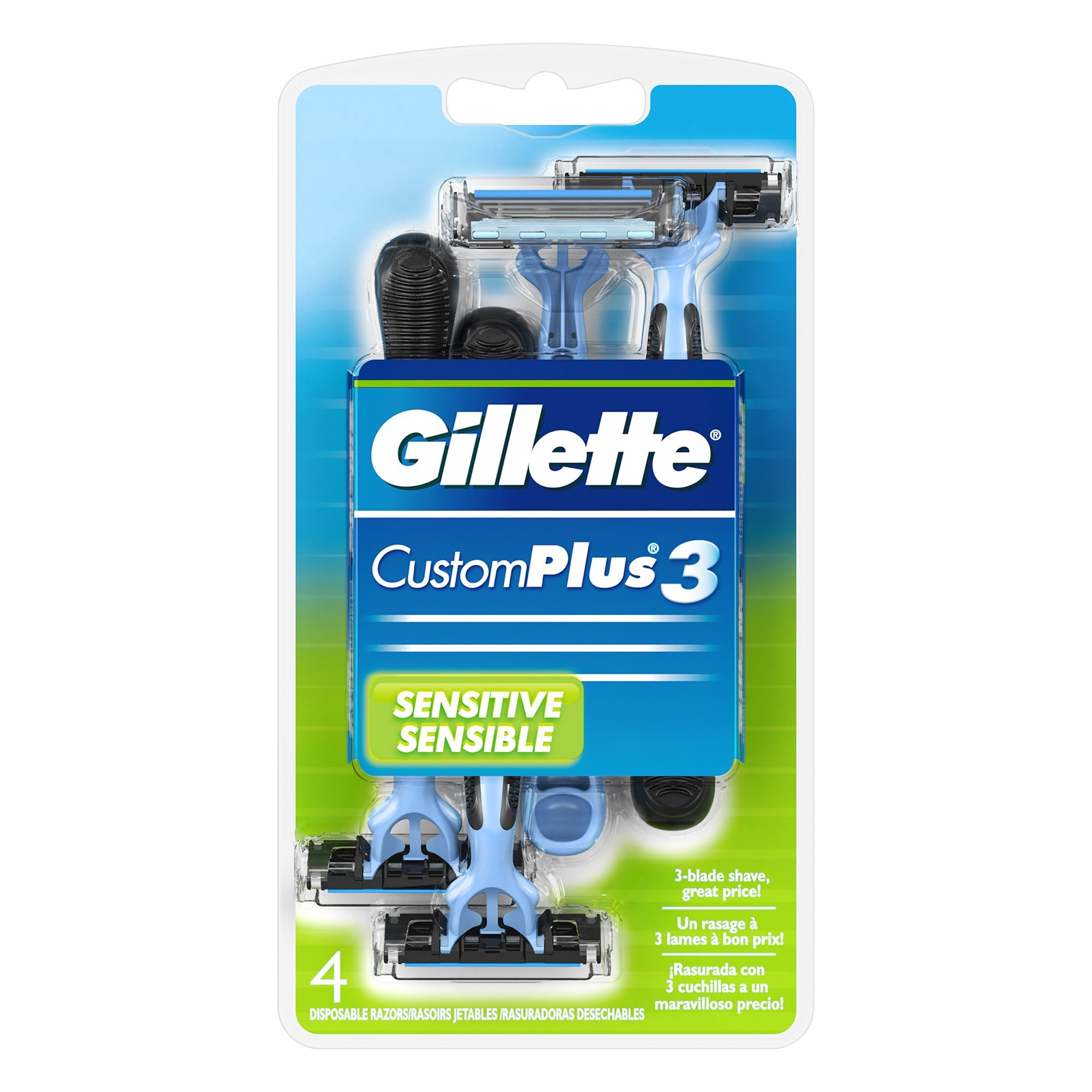 Gillette CustomPlus 3 Disposable Razor, Sensitive, 4 Count, Mens Razors / Blades