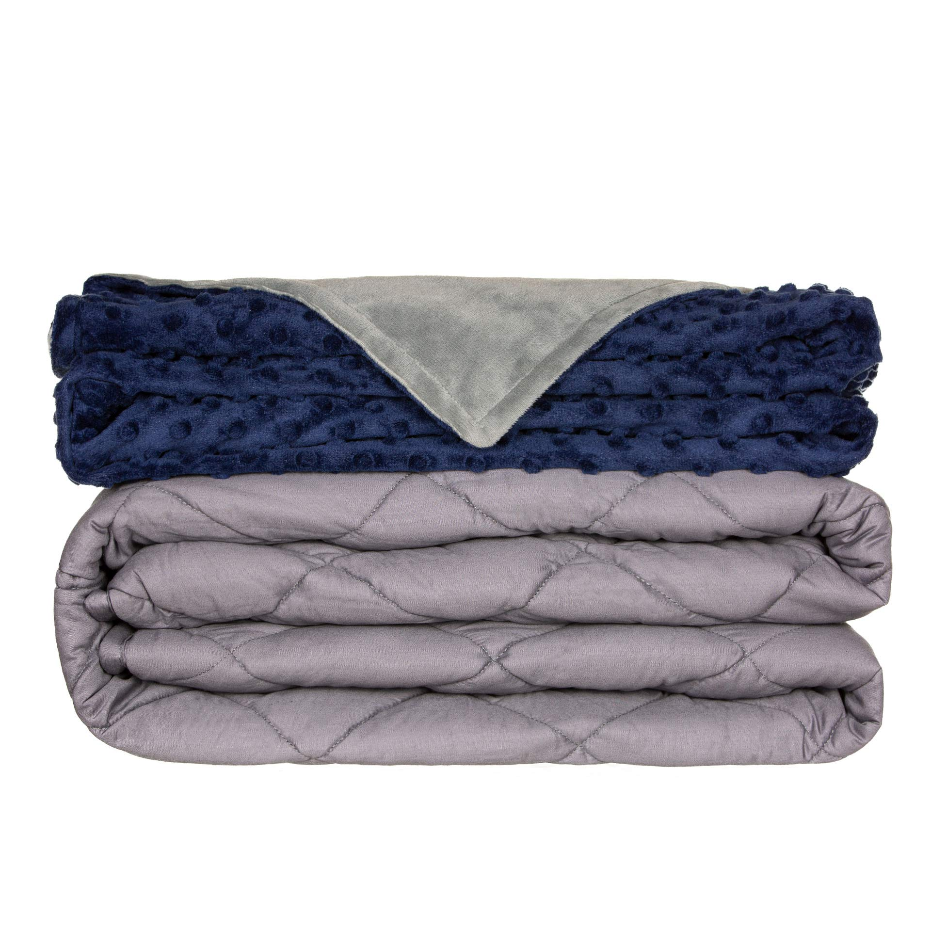 Comfamille Kids Weighted Blanket with Blue Removable Cover | 5-Layer Mosaic Sensory Blanket | Twin Queen King Sized Sleeping Blanket | 41''60'',7 Lbs