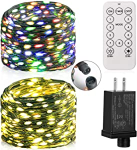 Krislait LED Fairy Lights Color Changing Outdoor Waterproof Connectable String Lights with Remote Plug in 99ft 300 LED Twinkle Lights Rainbow Multi-colored for Bedroom Patio Deck Garden Christmas Tree