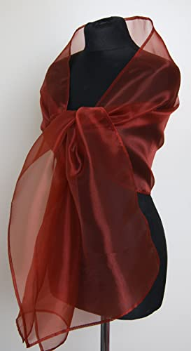 Chal organza color rojo marron novia boda novia para vestido de fiesta