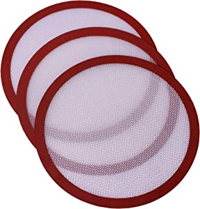 Kitchvana Round Silicone Nonstick Air Fryer Baking or Dough Rest Mats - Pack of 3 3.6 Inch Mat Liners