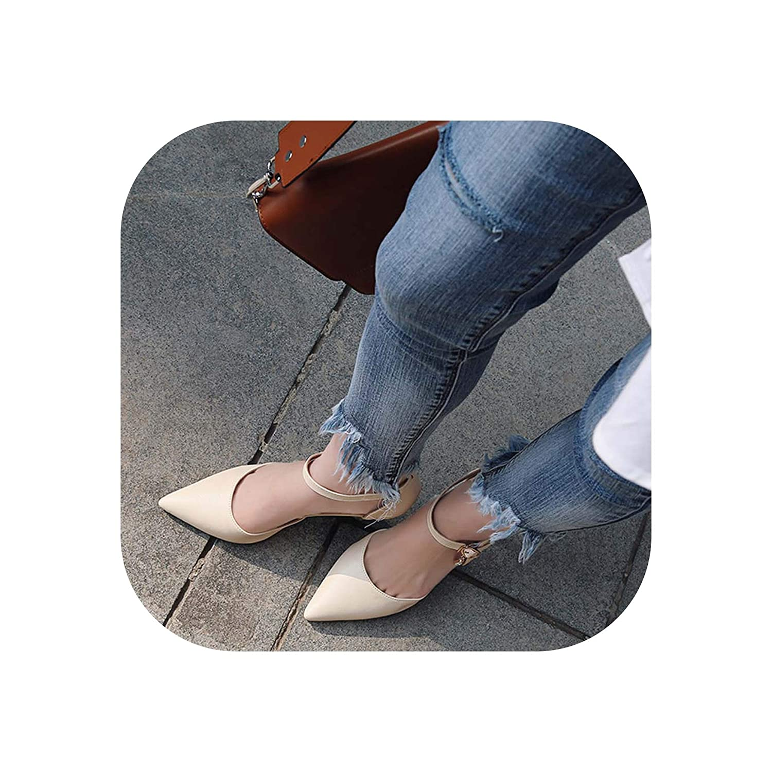 Apricot Women Summer Pointed Toe Cutout Sexy Sandals Thin High Heel Elegant Sandals