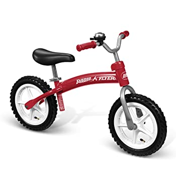 side facing red radio flyer glide n' go balance bike