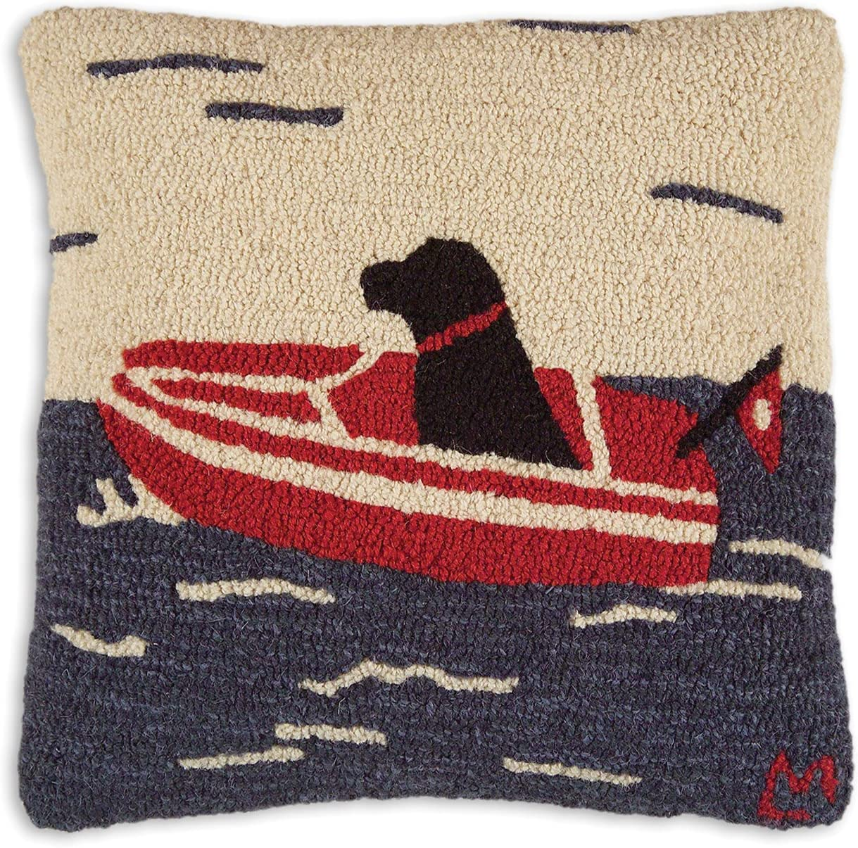 Chandler 4 Corners Artist-Designed Seadog Boating Hand-Hooked Wool Decorative Throw Pillow 18 x 18