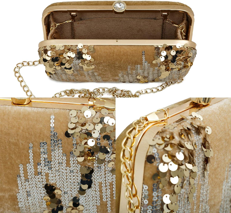 Ladies velvet Purse with Gold Chain Strap Wedding Party Bridal Bag MISTIQ Womens Sequin Glitter Evening Clutch Handbag Golden