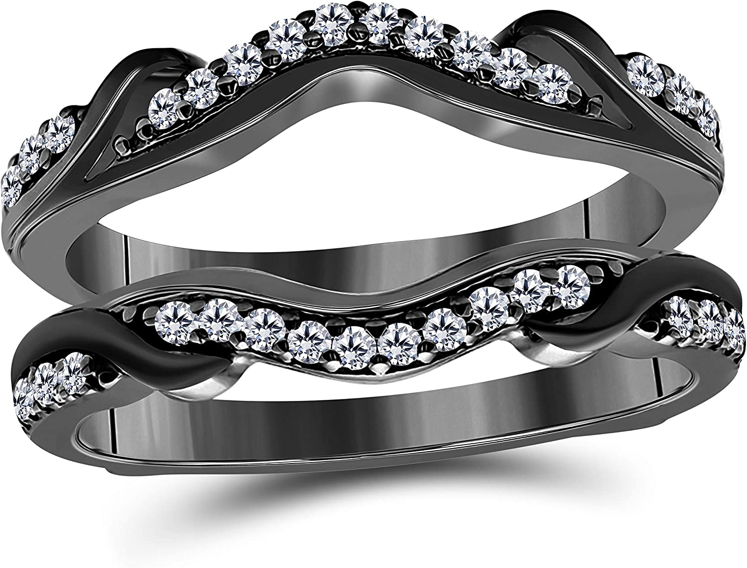 Women Anniversary Wedding Band Enhancer Guard Jacket Ring 0.35 CT Cubic Zirconia Round 14K Black Rhodium Plated in 925 Sterling Silver