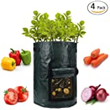 ANPHSIN 4 Pack 10 Gallon Garden Potato Grow Bags with Flap and Handles Aeration Fabric Pots Heavy Duty