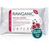 Rawganic Anti-aging Hydrating Facial wipes, Fragrance-free Biodegradable Organic Cotton Wipes with Pomegranate and Aloe Vera