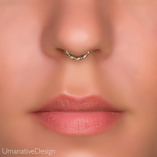 Dainty Fake Twisted Wire Septum Nose Ring Unique Faux Brass And Sterling Silver Clip On Non Pierced Septum Hoop Handmade Piercing Jewelry