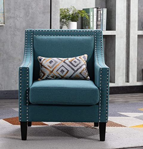 Accent Armchair Mid Century Modern Fabric Nailhead Club Chairs Arm Studded Living Room Chair