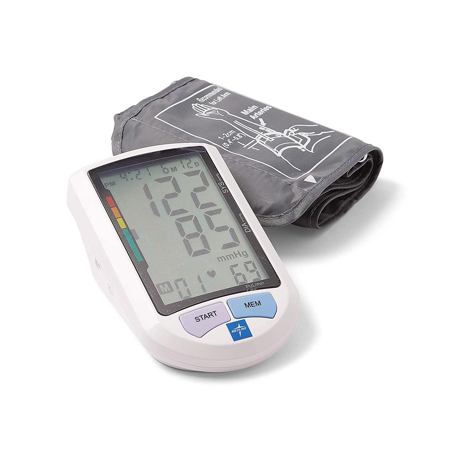 "Medline Automatic Digital Blood Pressure Monitor, Universal Upper Arm Adult Cuff, 8.5""-16.5"" BP Cuff Size, Batteries Included, 90 Memory Readings, Great for Home Use or Professional Medical Use"