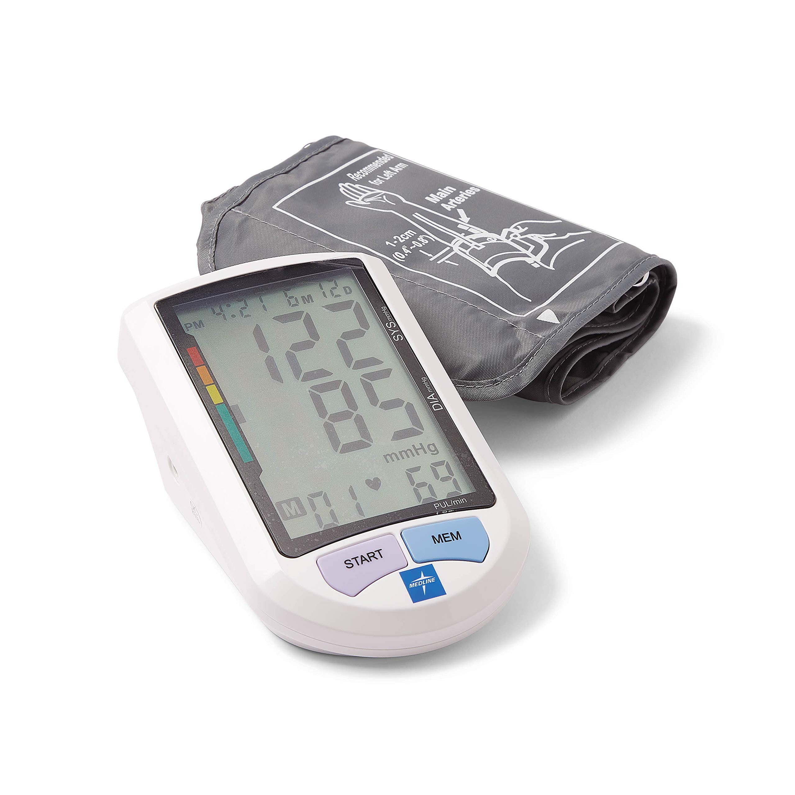 Medline Automatic Digital Blood Pressure Monitor, Universal Upper Arm Adult Cuff, 8.5''-16.5'' BP Cuff Size, Batteries Included, 90 Memory Readings, Great for Home Use or Professional Medical Use