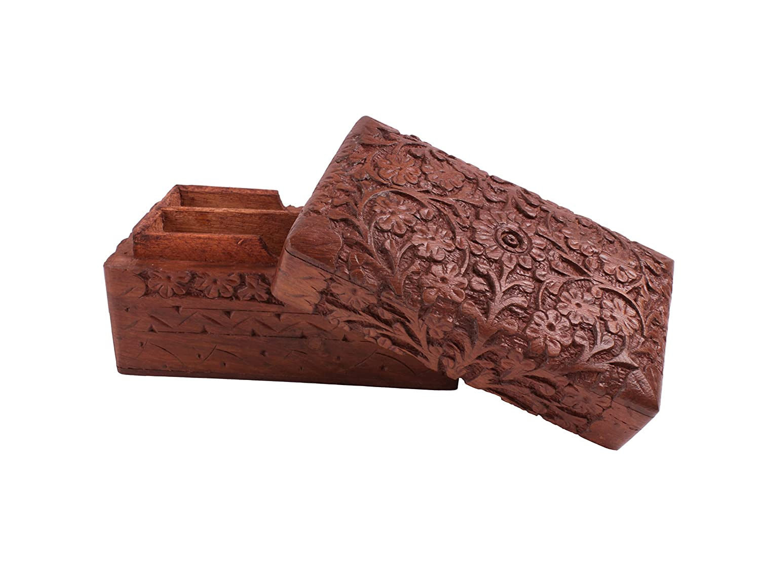 Cheerful Hand Carved Wooden Decorative Playing Card Box (12 X 7 X 7) Cm With Floral Carvings Store Indya