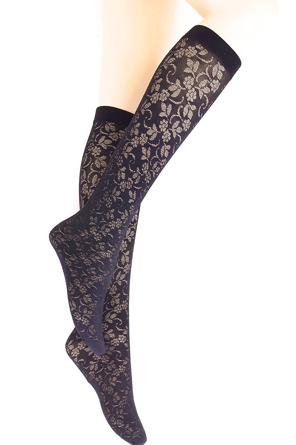 2 Pairs New womens black floral pattern semi opaque knee high pop socks 60 Denier P7