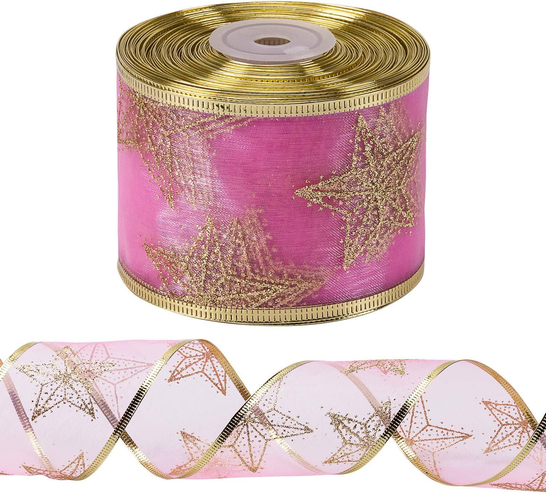 Borde Con Cable Dorado 63 mm X 22 m Cada Rollo Cinta De Rubor Con Flor Roja Rubor RUSPEPA Cinta Navide/ña Con Cable