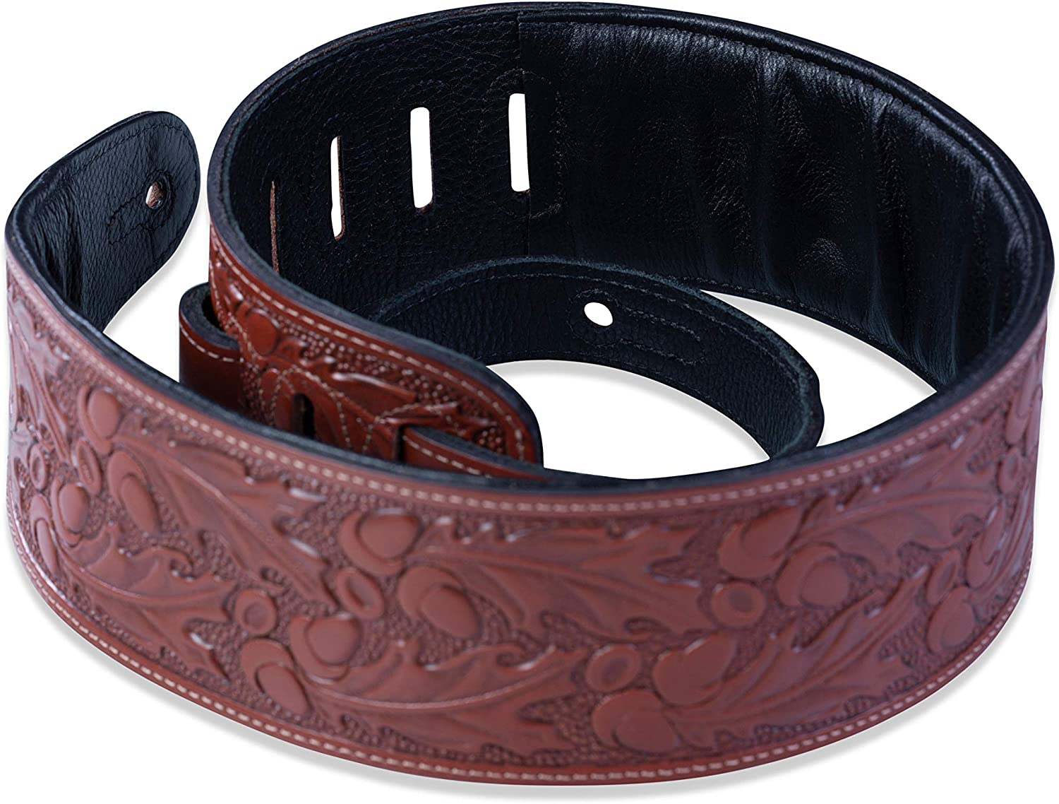 Levys Leathers 3 Padded Veg-Tan Leather Leather Guitar Strap; Acorn and Oak Leaves Design PM44T01-BLK Black