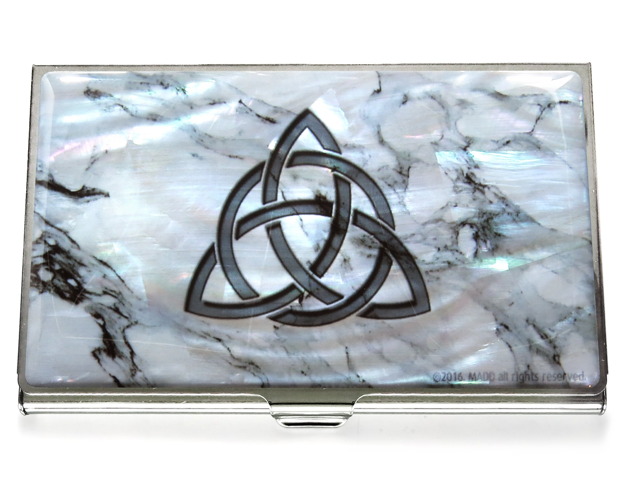Business Credit Card Case Id Holder Metal Travel Wallet Mother of Pearl Celtic Knot (Marble)