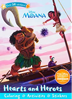 Disney Moana Hearts And Heroes Sticker Scenes Coloring Book