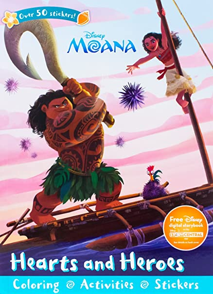 Disney Moana Hearts Heroes Sticker Scenes Coloring Book