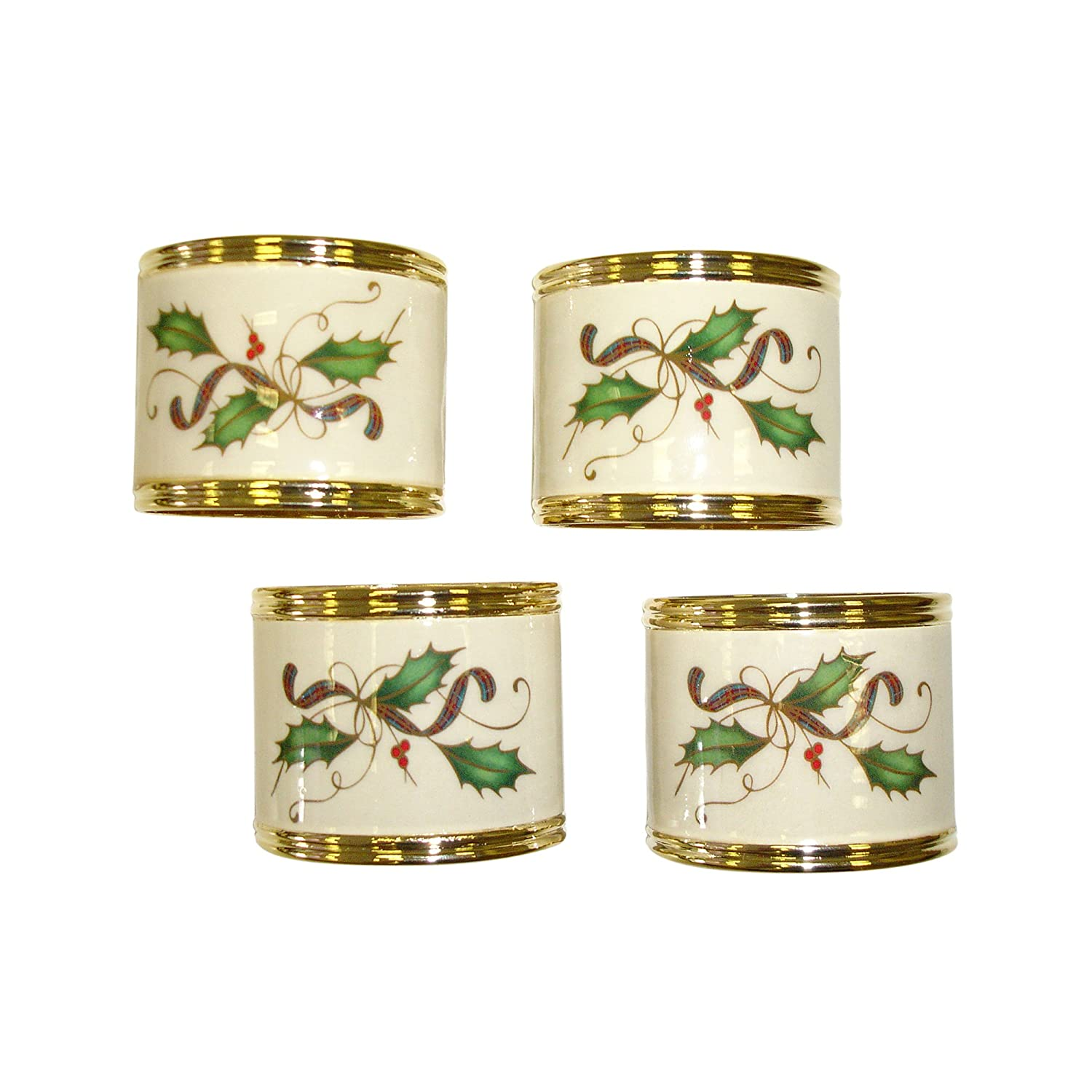 Set of 4 Lenox Holiday Nouveau Napkin Rings